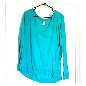 Teal green long sleeve deep v-neck VS Pink
